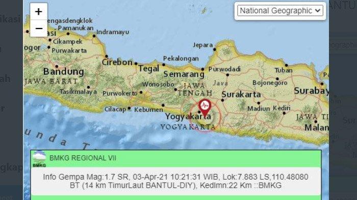 Baru Saja Gempa Darat Terjadi di Bantul, Ini Unggahan BMKG Yogyakarta