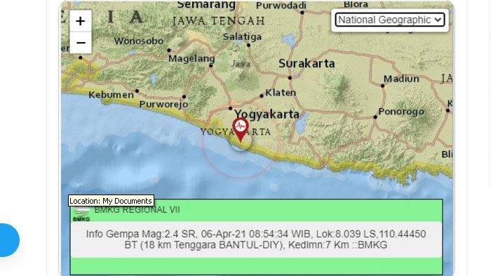 Pagi Menjelang Siang Tadi Gempa Terjadi di Bantul Yogyakarta, Pusat Gempa Ada di Bibir Pantai