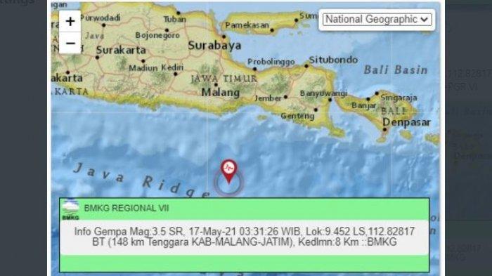 Gempa bermagnitudo 3.5 menguncang Kabupaten Malang, Jawa Timur, Senin (17/5/2021) 03:31:26 WIB