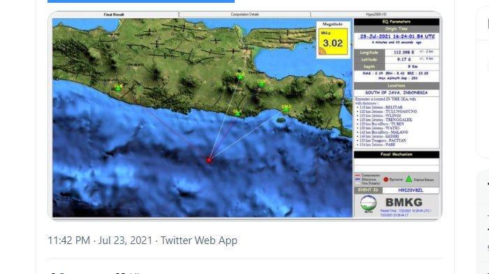 Dua Gempa Bumi Melanda Jawa Timur Tadi Malam, di Trenggalek dan Blitar, Pusatnya Sama-sama di Laut