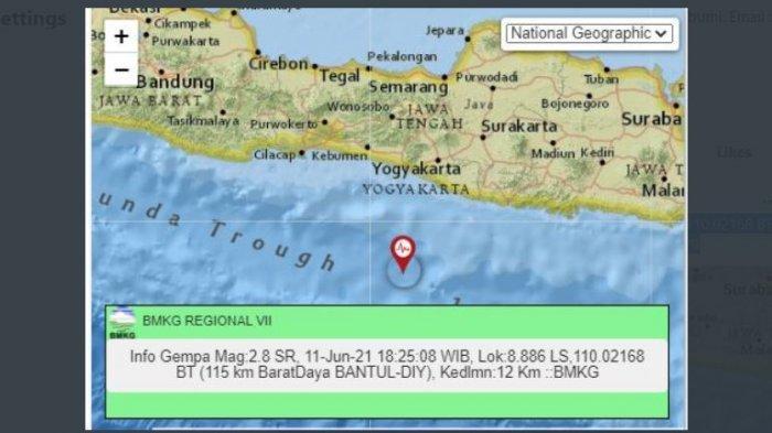 Gempa bumi terkini terjadi di 18:25:08 WIB yang menggoyang Bantul, DI Yogyakarta, Jumat (11/6/2021).