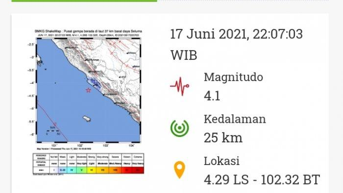 Gempa Bumi Magnitudo 4.1 di Bengkulu Beberapa Jam Lalu, Gempa yang Kedua Kali di Pekan Ini