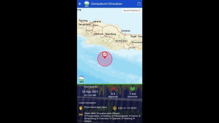 Gempa Berkekuatan M 4.9 di Garut, Terasa Sampai Pangandaran, Dirasakan Sebagian Orang