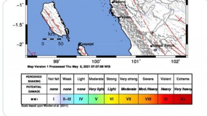 Gempa bumi bermagnitudo 3.3 menguncang Sumatera Barat pada Kamis (6/5/2021) 13:52:22 WIB.
