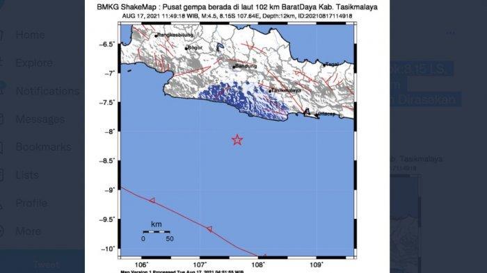 BREAKING NEWS, Baru Saja Gempa Guncang Tasikmalaya, Kedalaman 12 KM, Ini Catatan BMKG