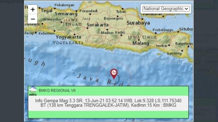 Gempa bumi di Trenggalek, Jawa Timur, Minggu (13/6/2021) dini hari.