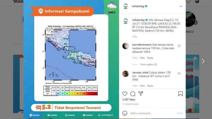 Gempa Bumi Guncang Pandeglang, Netizen Sebut Terasa di Sukabumi dan Bogor, Ini Penjelasan BMKG