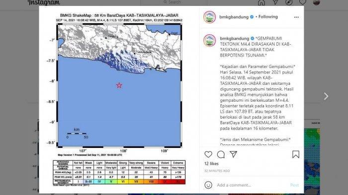 Gempa Bumi Guncang Tasikmalaya, Terasa hingga Pangandaran dan Banjar, Begini Penjelasan BMKG