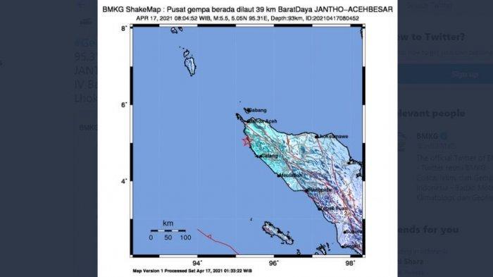 Pagi Tadi, Gempa Bumi Melanda Aceh Barat, Terasa Hingga 5 Kota, Ini Saran BMKG