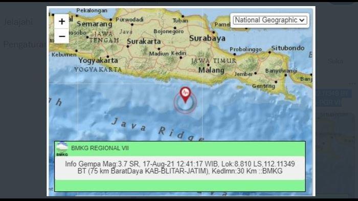 Siang Tadi, Gempa Goyang Blitar Jawa Timur, Berikut Unggahan BMKG