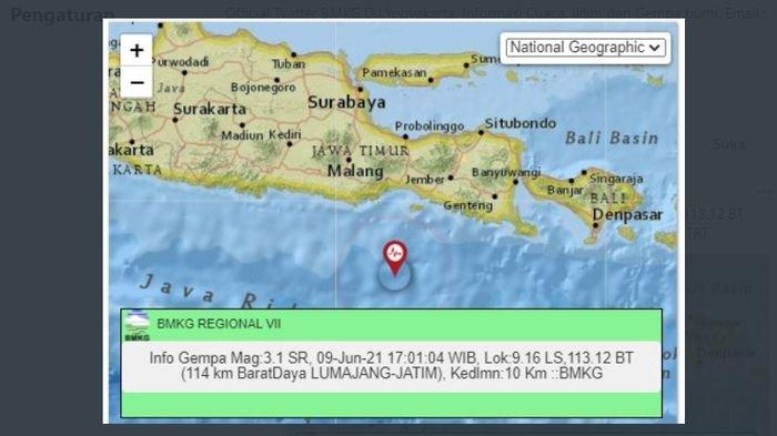 Tadi Sore, Gempa Bumi Goyang Lumajang, Jawa Timur, BMKG Sebut Berpusat di Kedalaman 10 Km