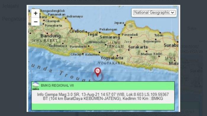 Gempa Melanda Kebumen Jateng Sore Ini, Sebelumnya BMKG Laporkan Gempa di Bantul DI Yogyakarta