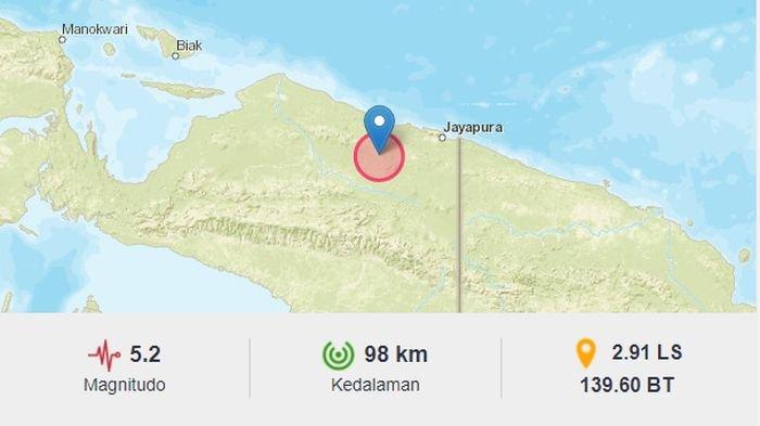Gempa bumi menguncang Kabupaten Jayapura, Papua, Rabu (7/7/2021) malam.