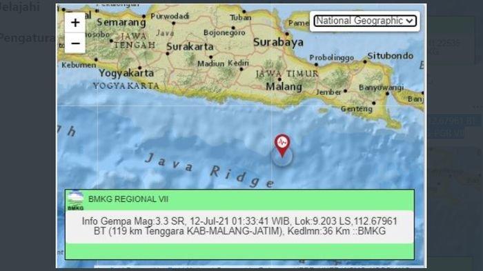 Gempa bumi menguncang Kabupaten Malang, Jawa Timur, Senin (12/7/2021) dinihari.