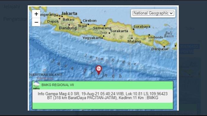 Gempa Guncang Pacitan Jatim Pagi Tadi, Berpusat di Kedalaman 11 Km