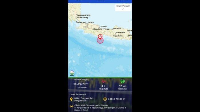 Gempa Bumi M 4,7 Dirasakan di Wilayah Pangandaran dan Sekitarnya