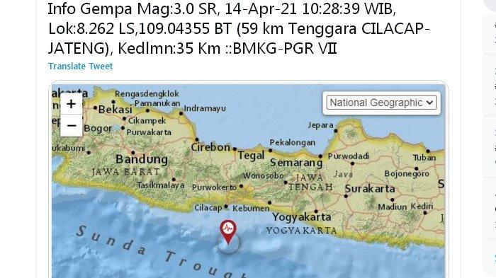 Siang Ini Gempa Bumi Melanda Cilacap, Pusat Lindu Ada di Laut Selatan, Ini Unggahan BMKG