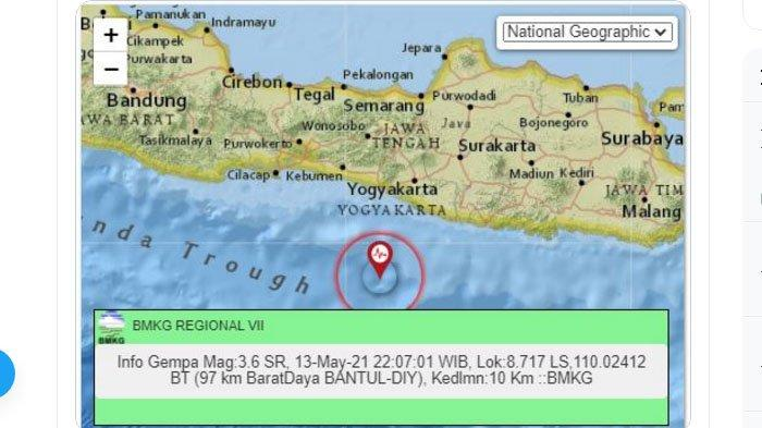 Malam Ini Gempa Baru Saja Terjadi di Sekitar Bantul Yogya, Pusatnya di Laut, Berikut Unggahan BMKG