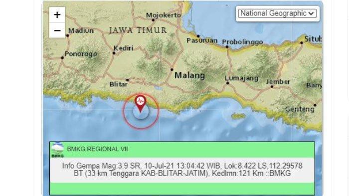 Gempa yang dilaporkan terjadi di Blitar, Jawa Timur, pada Sabtu (10/7/2021) siang ini.Gem