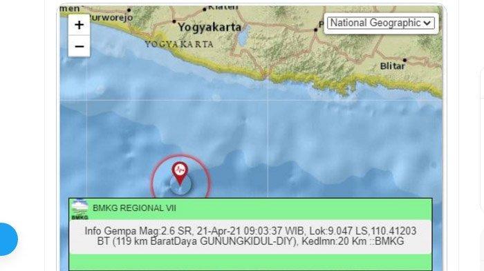 Gempa Terjadi di Dekat <a href='https://manado.tribunnews.com/tag/gunungkidul' title='Gunungkidul'>Gunungkidul</a> <a href='https://manado.tribunnews.com/tag/yogyakarta' title='Yogyakarta'>Yogyakarta</a> Pagi Ini, Pusatnya di Laut Selatan, Ini Unggahan <a href='https://manado.tribunnews.com/tag/bmkg' title='BMKG'>BMKG</a>