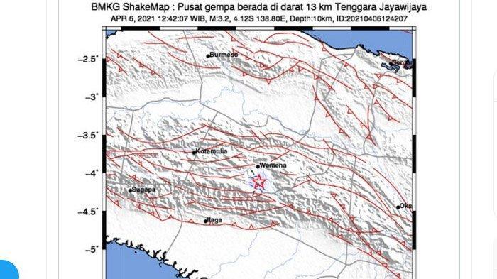 Gempa Darat Melanda Jayawijaya Papua Selepas Tengah Hari, Ini Daerah yang Rasakan Lindu Kata BMKG
