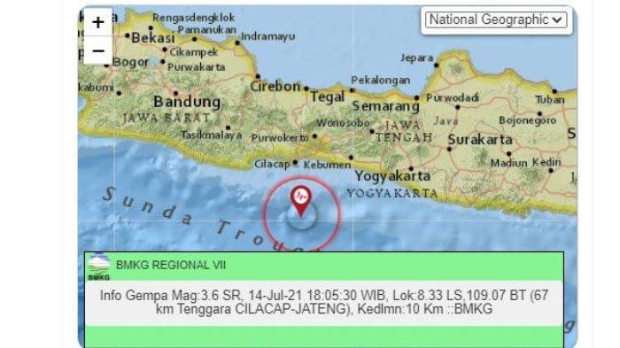 Gempa Terjadi di Cilacap Menjelang Malam, Pusat Lindu Jauh Nun di Laut Selatan, Ini Unggahan BMKG