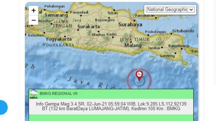 Gempa yang terjadi di Lumajang, Jawa Timur, Rabu (2/6/2021) pagi.