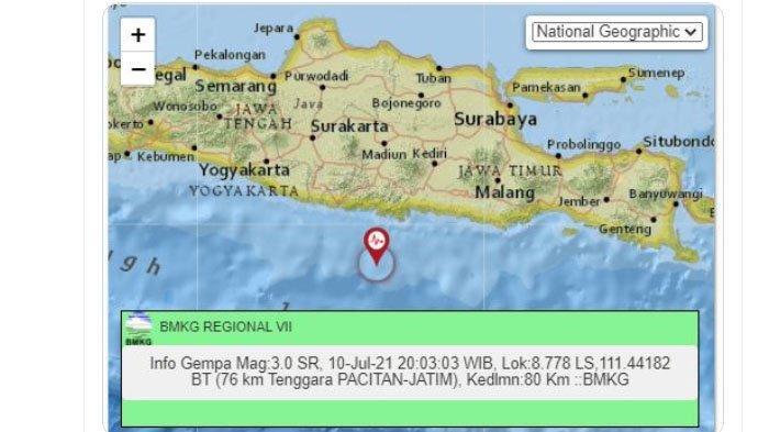 Malam Ini Gempa Mengguncang Pacitan Jatim, Pusatnya di Laut Selatan, Tadi Siang Lindu di Blitar