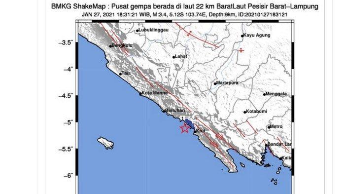 Gempa yang terjadi di Pesisir Barat, Rabu (27/1/2021) malam.