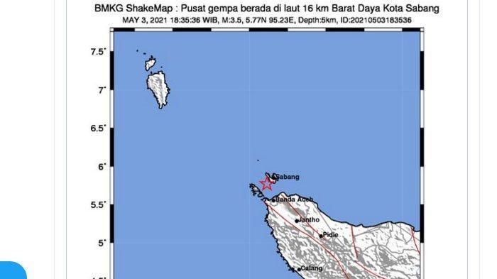 Gempa yang terjadi di Sabang, Aceh, Senin (3/5/2021) malam ini.