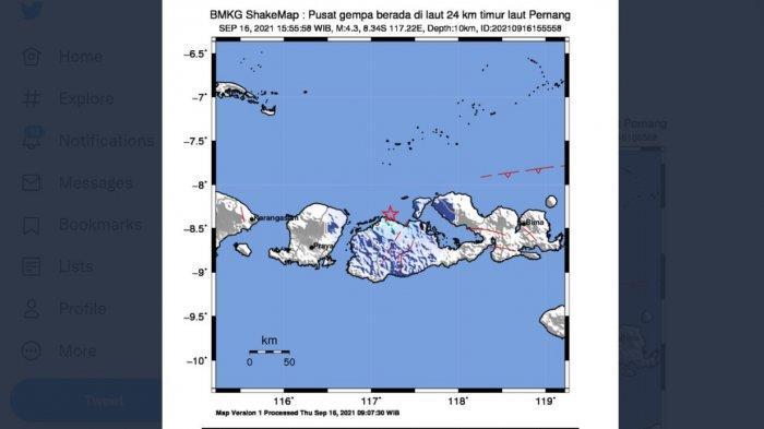 BARU SAJA Gempa Goyang Sumbawa, Magnitude 4,3, Berikut Catatan Lengkap BMKG