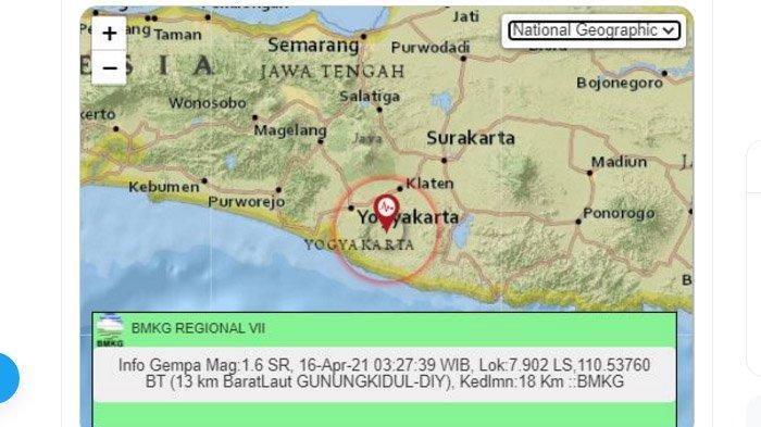 Gempa yang terjadi di Gunungkidul, DIY, Jumat (16/4/2021) dini hari.