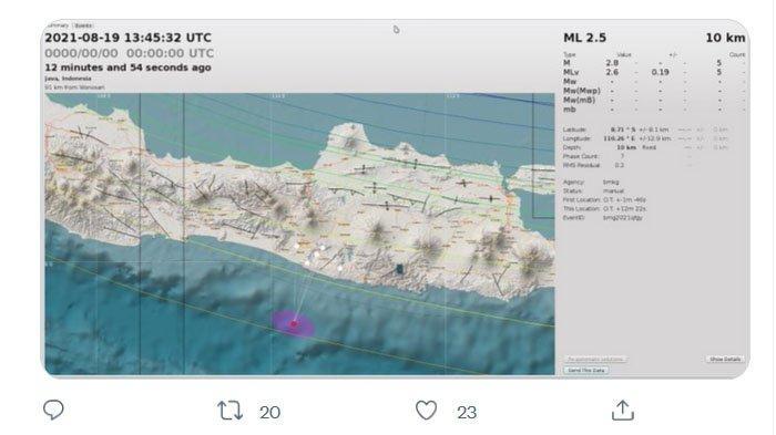 Setelah Sleman, Gempa Juga Terjadi di Gunungkidul Malam Ini, Pusatnya Sekarang di Laut Selatan