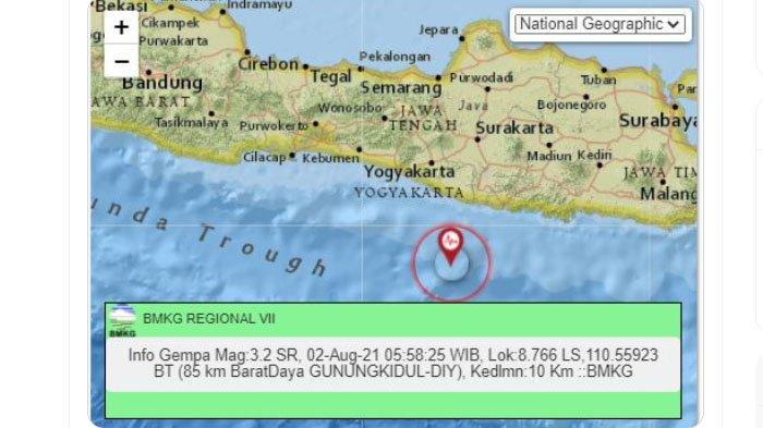 Gempa Terjadi di Gunungkidul Yogyakarta Pagi Ini, Pusat Lindu Ada di Laut Selatan, Ini Kata BMKG