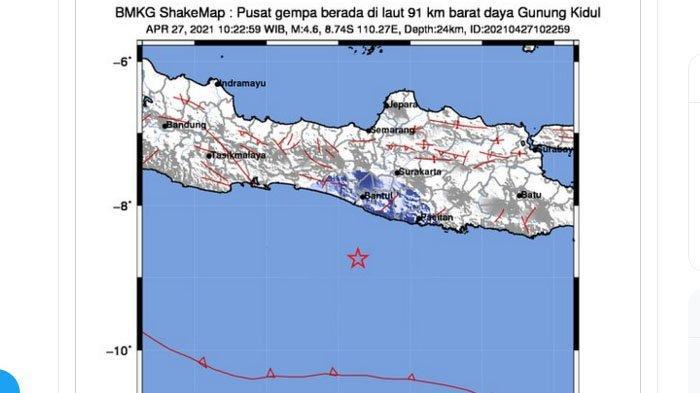 BARU Saja Gempa 4,6 Terjadi di Gunungkidul Yogya, Pusat di Laut, Ini Daerah yang Rasakan Lindu