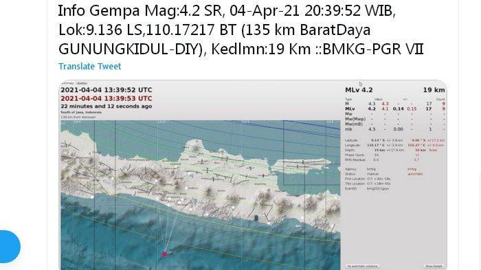 Tadi Malam Gempa Bumi Melanda Gunungkidul Yogyakarta, Pusat Lindu di Laut Selatan, Ini Kata BMKG