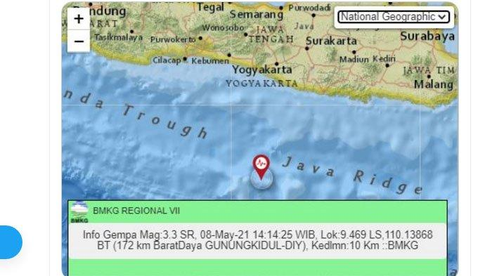 Sore Tadi Gempa Melanda Gunungkidul Yogya, Pusat Lindu Jauh di Laut Selatan, Ini Unggahan BMKG