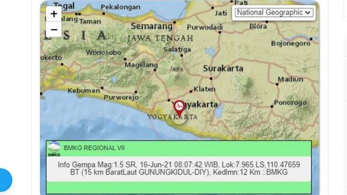 Pagi Tadi Gempa Terjadi di Gunungkidul Yogya, Pusat Lindu di Darat, Ini Unggahan BMKG