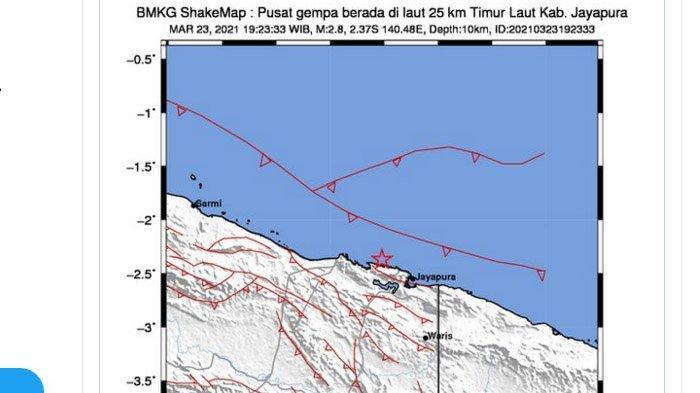 Gempa yang terjadi di Jayapura, Papua, Selasa (23/3/2021) malam.