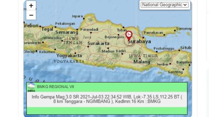 Gempa Darat Baru Saja Melanda Jombang Jatim Malam Ini, Berikut Unggahan BMKG