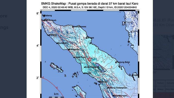 Gempa yang melanda Karo, Sumatera Utara, Jumat (4/12/2020).