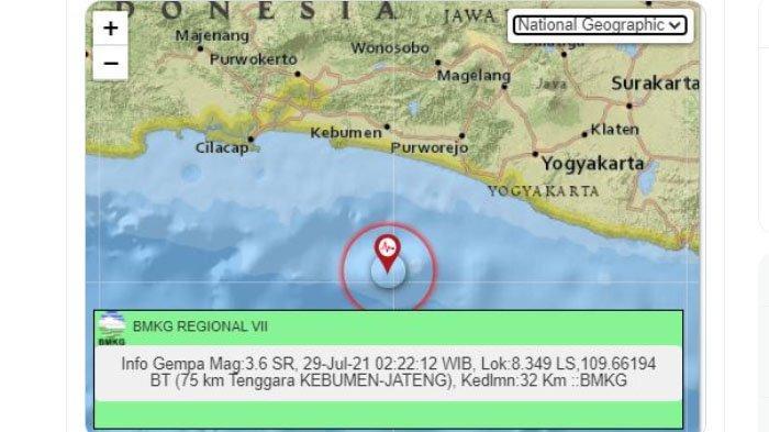 Kebumen Dilanda Gempa Bumi Dini Hari Tadi, Pusat Lindu Ada di Laut Selatan, Ini Unggahan BMKG