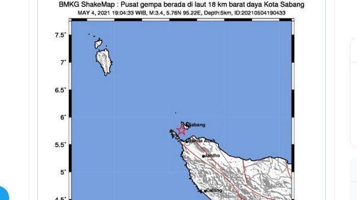 Sabang Kembali Dilanda Gempa Malam Ini, Gempa Keenam yang Berpusat di Dekat Sabang Sejak 1 Mei