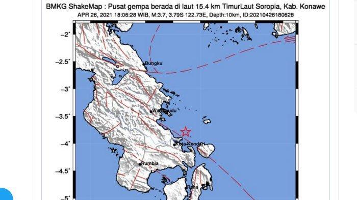 Malam Ini Gempa Landa Konawe Sulawesi Tenggara, Guncangan ...