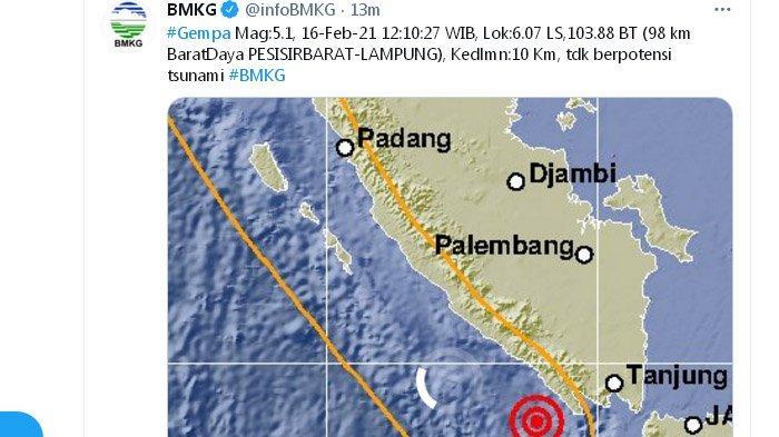 Gempa Kembali Landa Pesisir Barat Lampung Siang Ini, Pusatnya Dekat dengan Gempa Kembar Sabtu Lalu