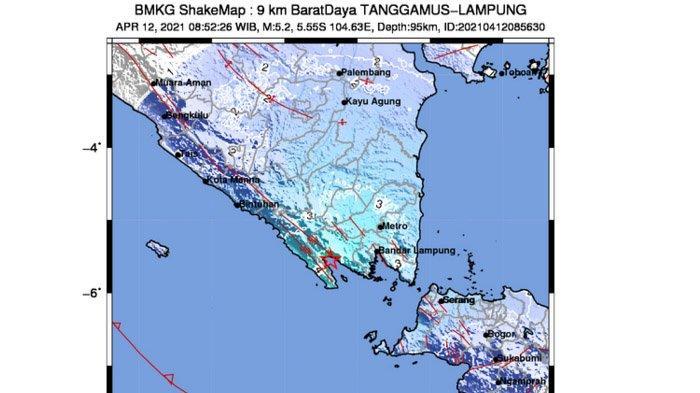 BREAKING News, Baru Saja Gempa 5,2 Melanda Tanggamus Lampung, Pusatnya di Laut Dekat ke Darat