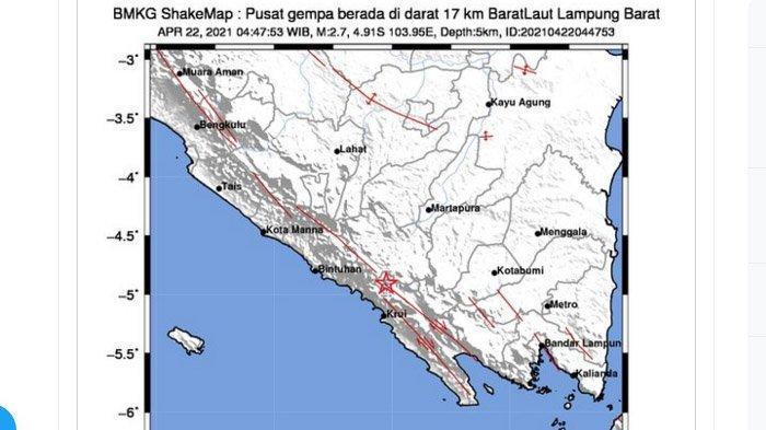 Tadi Subuh Gempa Darat Melanda Lampung Barat, Tadi Malam di Pacitan Jatim, Pusatnya di Laut Selatan
