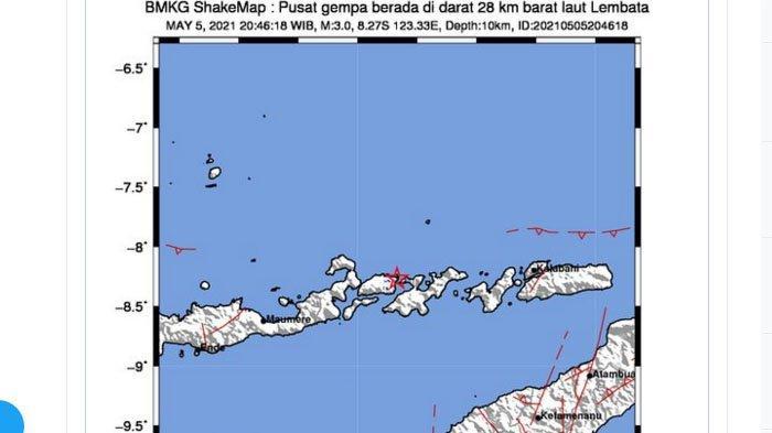 Gempa Terkini, Mengguncang Lembata NTT Rabu Malam, Ini Daerah yang Rasakan Lindu Kata BMKG