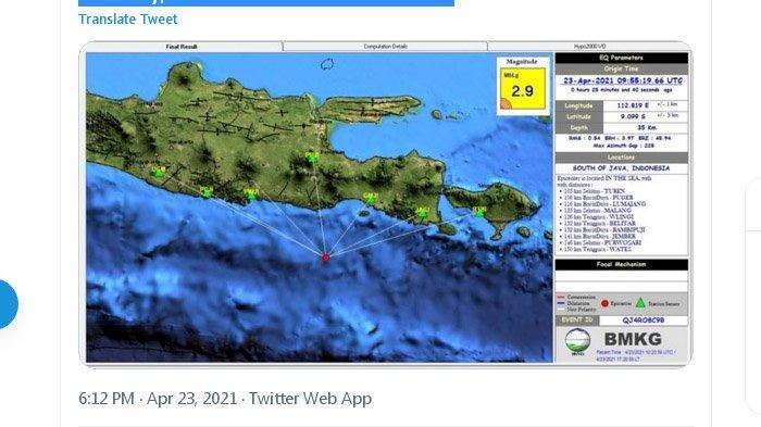 Sore Tadi Gempa Terjadi di Lumajang Jatim, Berpusat di Laut Selatan, Ini Unggahan BMKG