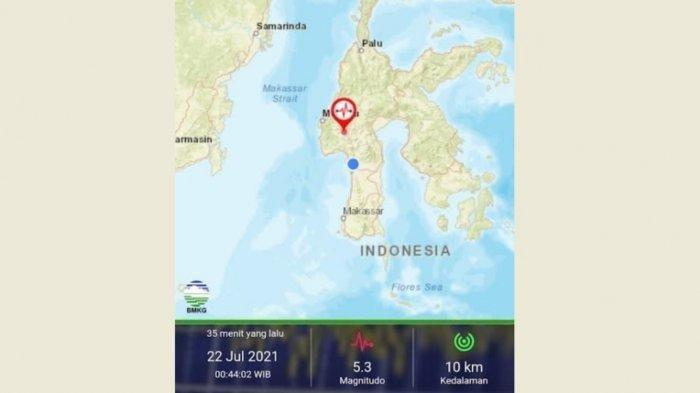 Gempa di Mamasa Sulawesi Barat Magnitudo 5.3 Terasa Sampai Pinrang Sulawesi Selatan